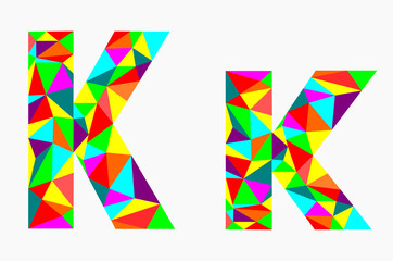 Letter K,low poly alphabet,geometric style.Abstract vector.