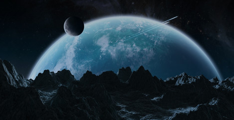 Asteroids flying close to planet Earth 3D rendering elements of this image furnished by NASA