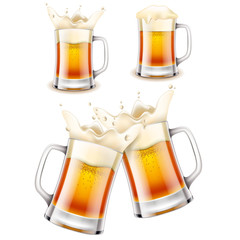 Beer mug 3d photo realistic vector set