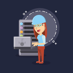 cryptocurrency mining design with cartoon woman and laptop computer over  blue background, colorful design. vector illustration