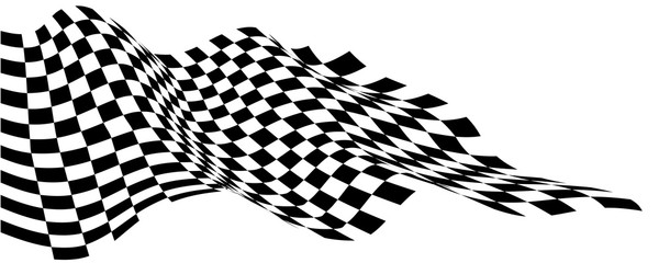 Checkered flag wave flying on white design sport race championship business success background vector illustration.