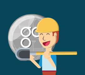 Mining cryptocurrency design with cartoon man holding a shovel and omisego coin over blue background, colorful design. vector illustration