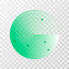 Radar screen icon. Vector illustration isolated on white background
