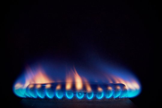 orange tongues of blue flame of a gas burner1