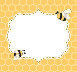 Vector Illustration of a Natural Background with Honeycombs Bees frame hand drawn