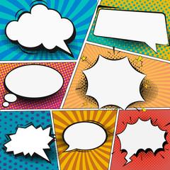 Fototapete - Retro comic empty speech bubbles set on colorful background. Vector illustration, vintage design, pop art style