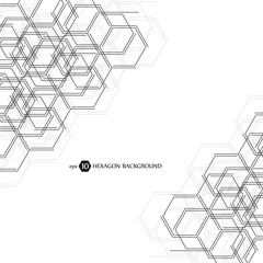 Hexagonal business pattern. Scientific medical research. Hexagons structure lattice. Geometric abstract background. Chemistry, science and technology concept. Vector illustration.