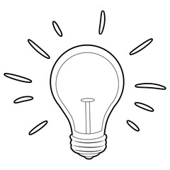 Coloring Book Outlined Light Bulb