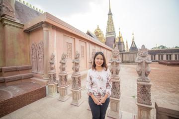 Asian women at  temple Buddha