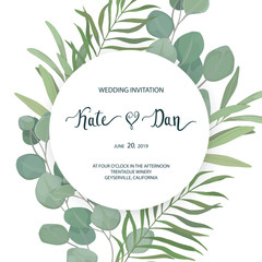 Floral card with eucalyptus  leaves. Greenery frame.Rustic style. For wedding, birthday, party, save the date. Vector illustration. Watercolor style