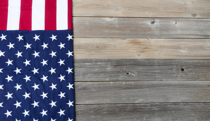 US Flag on vintage wooden planks for holiday background