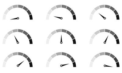 Speedometer or rating meter signs infographic gauge element. Vector graphic illustration.
