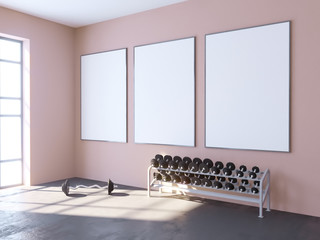 Mock up scene, 3d illustration , sport, gym, fitness, locker room  space,  sport,  template,  towel,  trainer,  up,  view