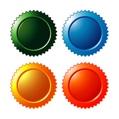 colorful blank star burst stickers vector icon