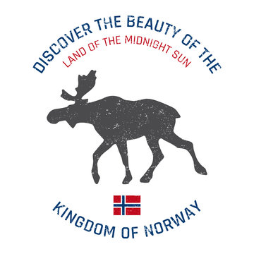 Norway grunge button with flag