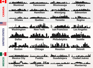 Fototapete - vector set of Central and South America cities abstract skylines silhouettes
