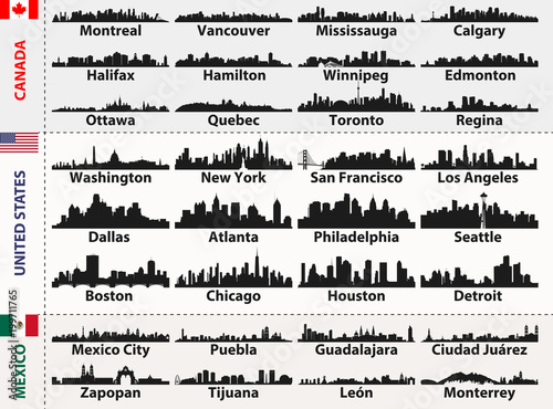 Fototapete vector set of Central and South America cities abstract skylines silhouettes