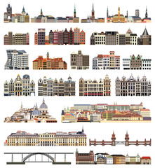 Fototapete - vector set of isolated houses, buildings, bridges and other cities street's skylines elements