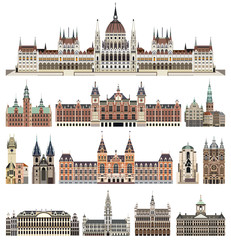 Fototapete - vector set of isolated cathedrals, palaces, houses, buildings,  and other cities street's skylines elements