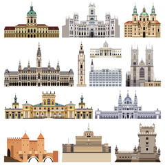 Fototapete - vector set of abstract castles, houses, buildings, palaces and other elements and landmarks of city skyline
