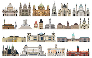 Fototapete - vector landmarks, city halls, cathedrals, temples, churches, palaces and other  skyline elements