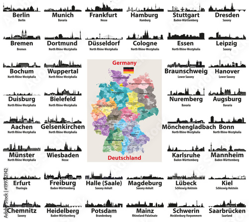 Germany map with largest cities skylines silhouettes vector set ...