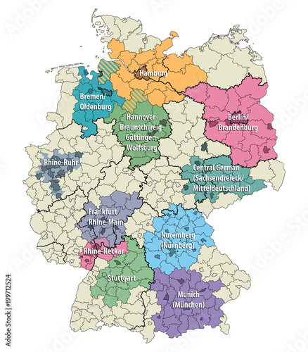 Map Of Germany With Regions.Germany Metropolitan Regions Vector Map Stock Image And Royalty