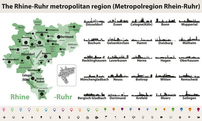 Rhine-Ruhr metropolitam area vector map with largest cities skylines silhouettes