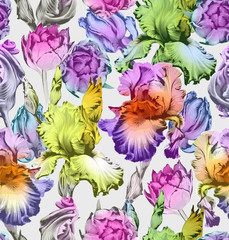Floral seamless pattern. Colorful Spring Vector Backgrounds