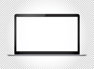 Modern thin laptop with wide screen. Vector mockup isolated on transparent