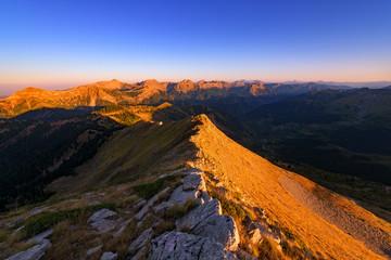 Printed kitchen splashbacks Cappuccino Golden Hour On Agrafa Mountains