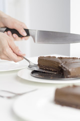 Healthy Chocolate and Cake on white background