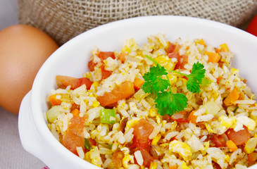 Fried rice with egg and various of vegetables