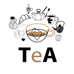 Vector postcard graphics of tea and pastries