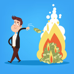 Happy smiling rich millionaire politician businessman entrepreneur character dropping money banknote dollars currency on fire. Money burn corruption crisis crime concept. Financial fail inflation