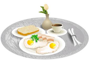 breakfast tray with tulip