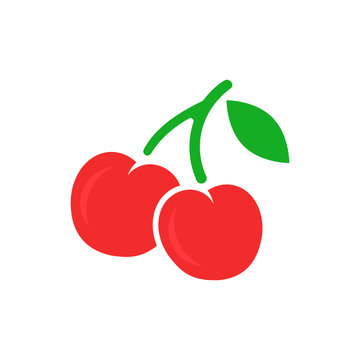 Cherry berry vector icon. Cherries illustration on white isolated background. Sweet cherry healthy food.