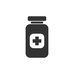 Pill vector icon in flat style. Tablet illustration on white isolated background. Bottle medical concept.