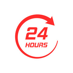 Twenty four hour clock icon in flat style. 24/7 service time illustration on white isolated background. Around the clock sign concept.