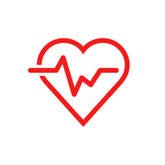 Heartbeat line with heart icon in flat style. Heartbeat illustration on white isolated background. Heart rhythm concept.
