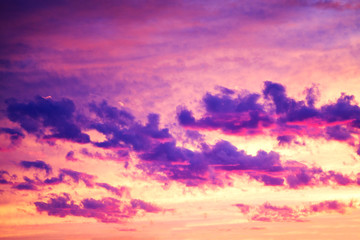 purple landscape with sky, clouds and sunrise a view