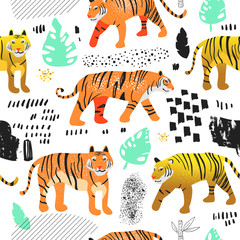 Seamless Pattern with Cute Tigers. Childish Wildlife Animals Background for Fabric Textile, Wallpaper, Wrapping Paper, Decoration. Vector illustration