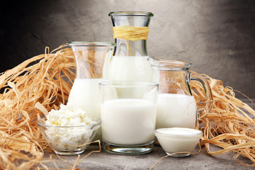 Fotobehang Zuivelproducten milk products. tasty healthy dairy products on a table on