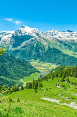 Fotobehang Alpen Swiss Alps. Resort Engelberg. Traveling on foot through the Swiss countryside and mountain tops