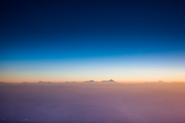 Flying over Caucasus mountains