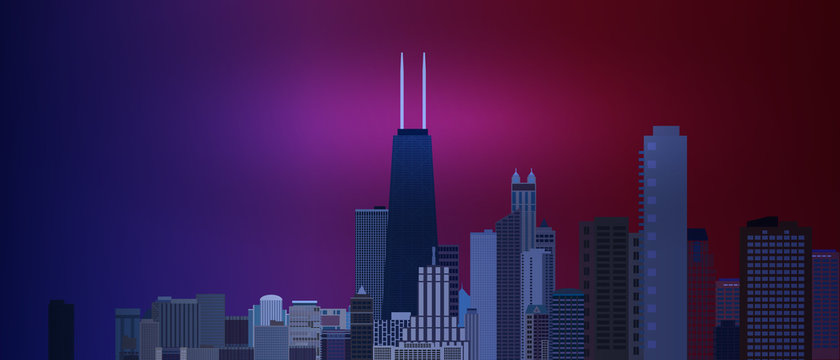 Chicago downtown business and finance area background with skyscrapers on blue and red background. Great view of big usa city. Vector illustration EPS10