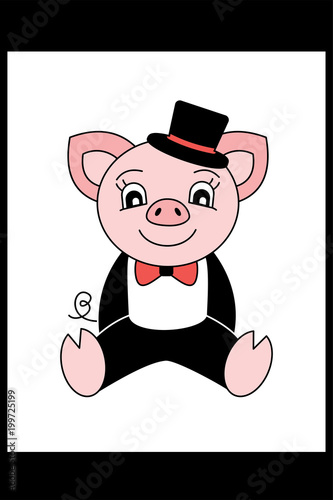 Pig in a suit and hat  Cartoon piggy  Chinese horoscope 2019 year