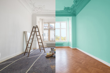 renovation concept - room before and after renovation Wall mural