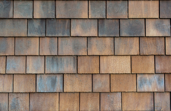 Brown wood shake siding - texture or background