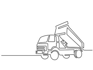 Continuous line drawing. Construction truck tipper. Vecotr illustrationvector illustration